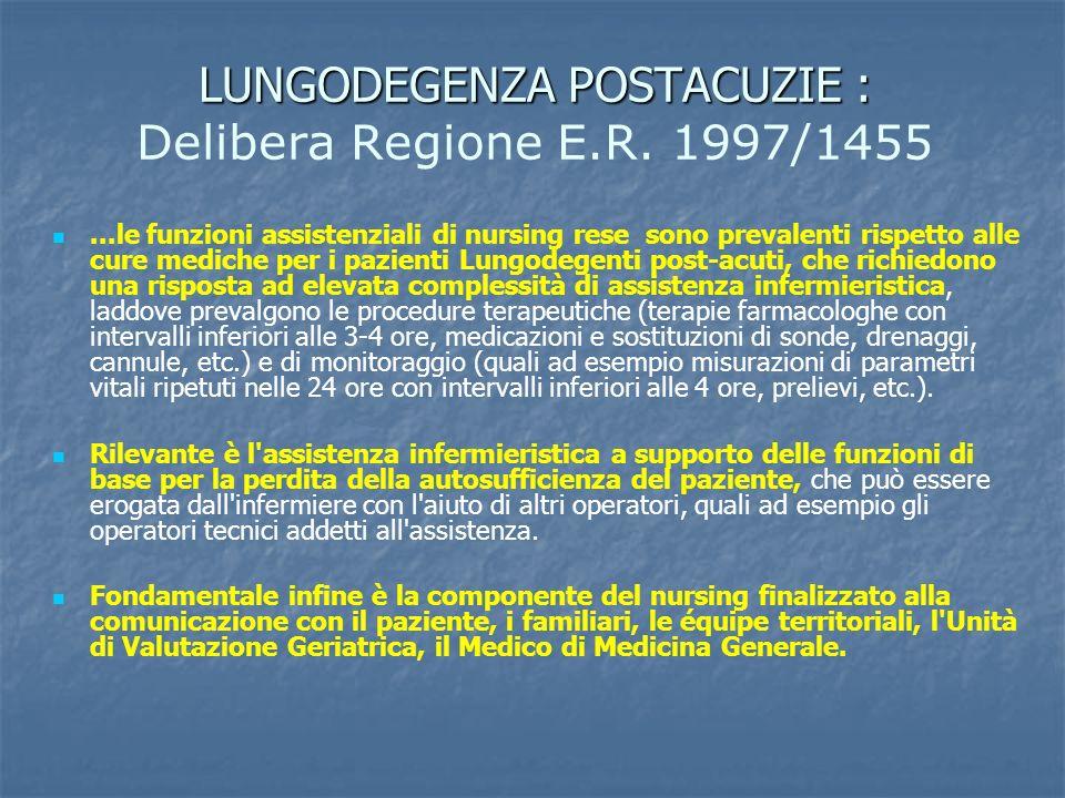 LUNGODEGENZA POSTACUZIE : LUNGODEGENZA POSTACUZIE : Delibera Regione E.R. 1997/1455...le funzioni assistenziali di nursing rese sono prevalenti rispet