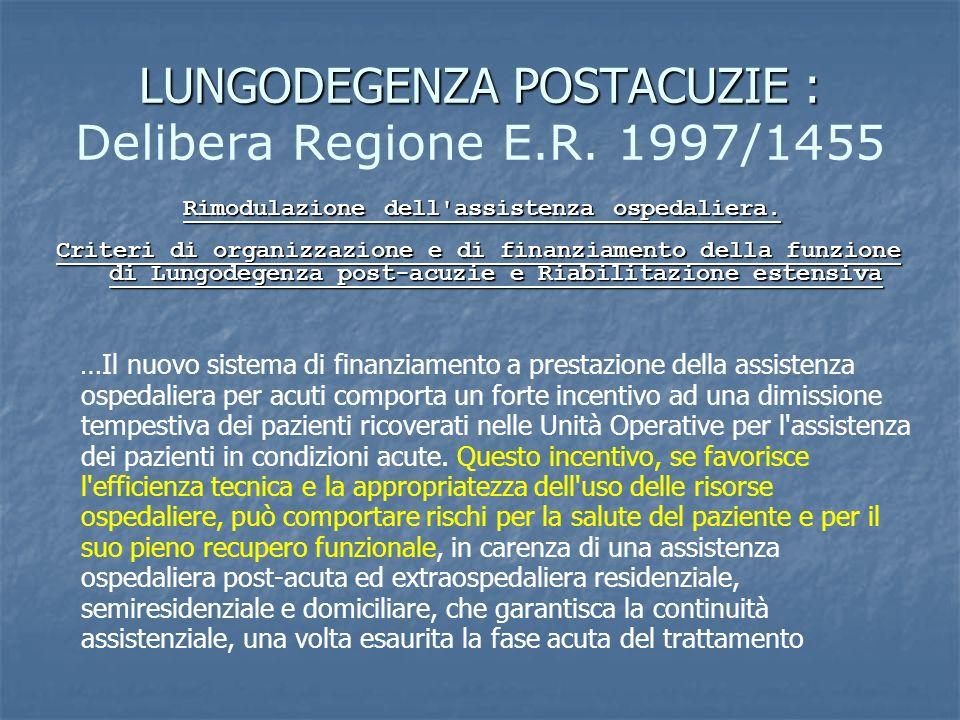 LUNGODEGENZA POSTACUZIE : LUNGODEGENZA POSTACUZIE : Delibera Regione E.R. 1997/1455 Rimodulazione dell'assistenza ospedaliera. Criteri di organizzazio