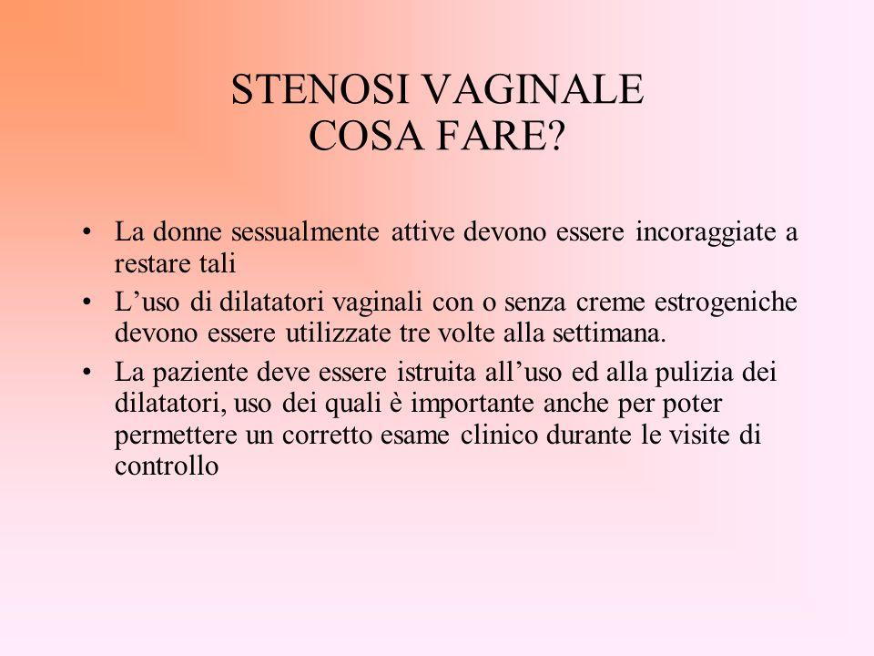 Effetti collaterali tardivi Atrofia vaginale Adesione delle pareti vaginali