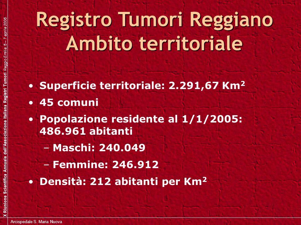 X Riunione Scientifica Annuale dellAssociazione Italiana Registri Tumori Reggio Emilia, 5 – 7 aprile 2006 Arcispedale S.