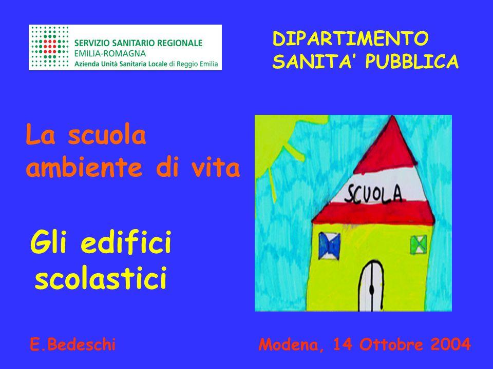 DIPARTIMENTO SANITA PUBBLICA La scuola ambiente di vita E.Bedeschi Modena, 14 Ottobre 2004 Gli edifici scolastici