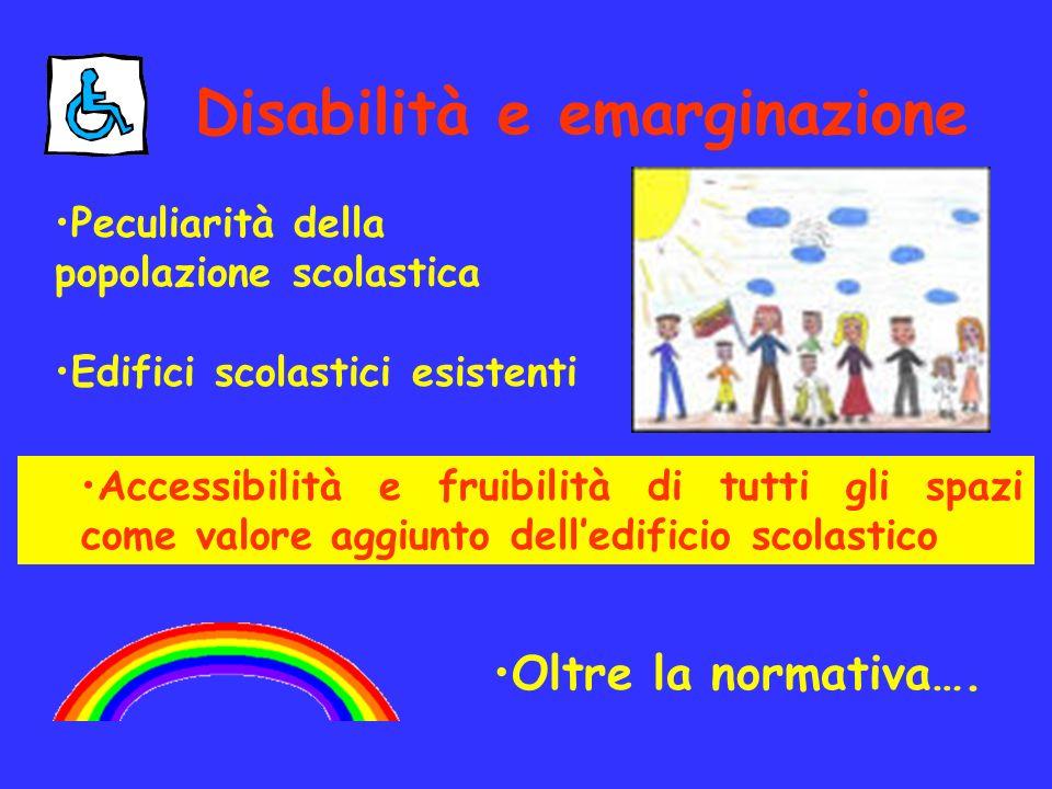 Accessibilità e fruibilità di tutti gli spazi come valore aggiunto delledificio scolastico Disabilità e emarginazione Peculiarità della popolazione sc