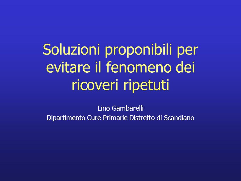 Soluzioni proponibili per evitare il fenomeno dei ricoveri ripetuti Lino Gambarelli Dipartimento Cure Primarie Distretto di Scandiano