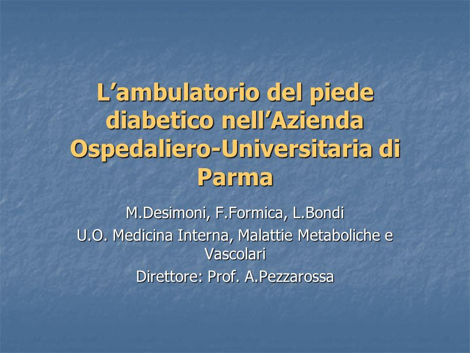 Lambulatorio del piede diabetico nellAzienda Ospedaliero-Universitaria di Parma M.Desimoni, F.Formica, L.Bondi U.O. Medicina Interna, Malattie Metabol