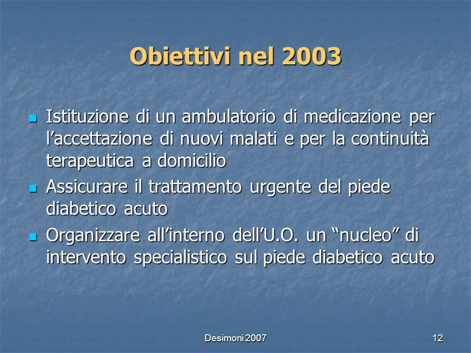 Desimoni 200712 Obiettivi nel 2003 Istituzione di un ambulatorio di medicazione per laccettazione di nuovi malati e per la continuità terapeutica a do