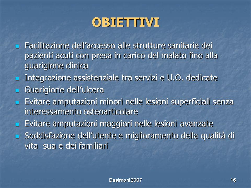 Desimoni 200716 OBIETTIVI Facilitazione dellaccesso alle strutture sanitarie dei pazienti acuti con presa in carico del malato fino alla guarigione cl