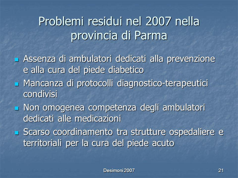 Desimoni 200721 Problemi residui nel 2007 nella provincia di Parma Assenza di ambulatori dedicati alla prevenzione e alla cura del piede diabetico Ass
