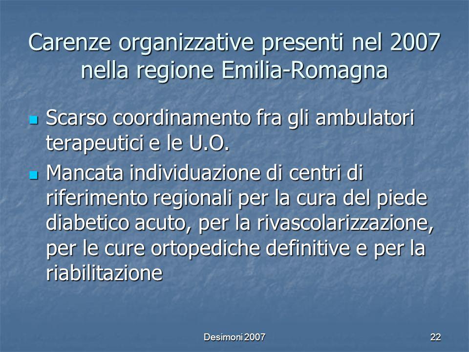 Desimoni 200722 Carenze organizzative presenti nel 2007 nella regione Emilia-Romagna Scarso coordinamento fra gli ambulatori terapeutici e le U.O. Sca
