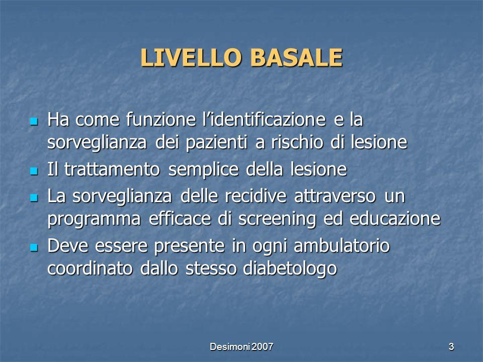 Desimoni 20073 LIVELLO BASALE Ha come funzione lidentificazione e la sorveglianza dei pazienti a rischio di lesione Ha come funzione lidentificazione