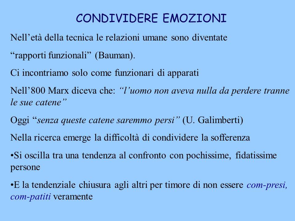 CONDIVIDERE EMOZIONI Nelletà della tecnica le relazioni umane sono diventate rapporti funzionali (Bauman). Ci incontriamo solo come funzionari di appa