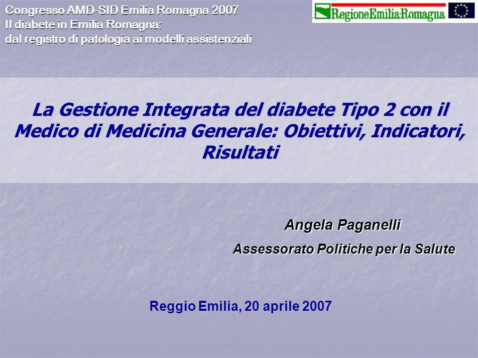 Prima fase: incontri di Area vasta Il Progetto di Gestione Integrata del paziente con diabete di tipo 2 tra Struttura Diabetologica e Medico di Medicina Generale in Emilia-Romagna.