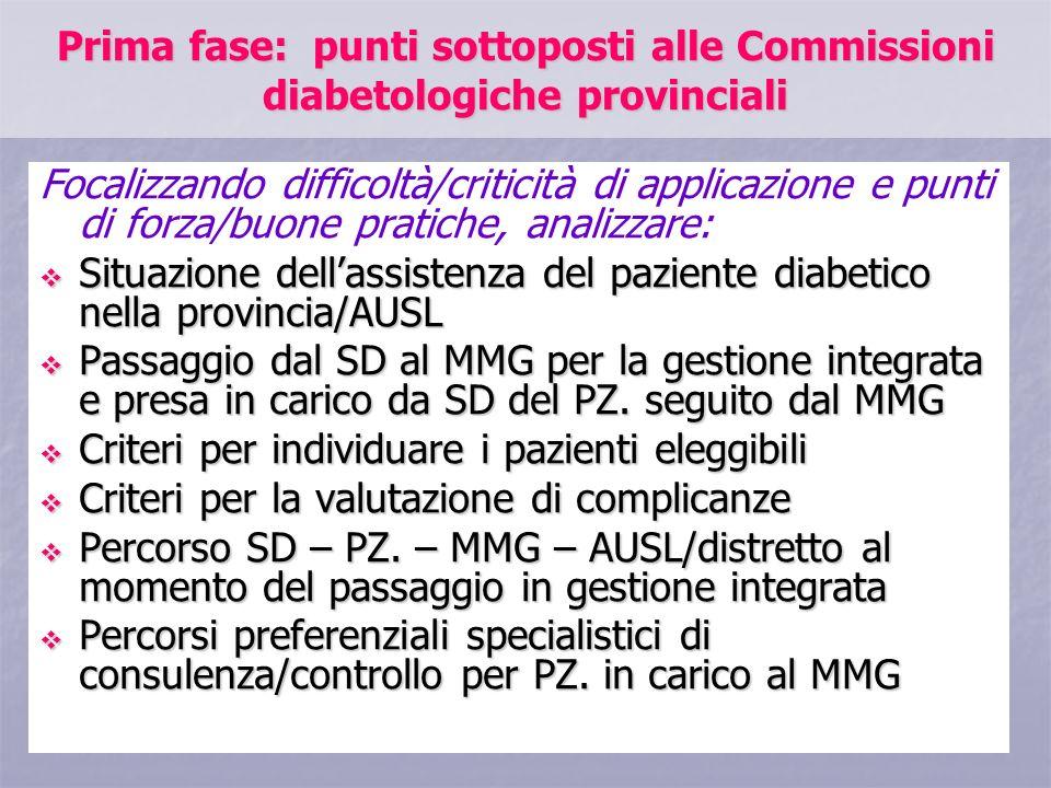 Prima fase: punti sottoposti alle Commissioni diabetologiche provinciali Focalizzando difficoltà/criticità di applicazione e punti di forza/buone prat