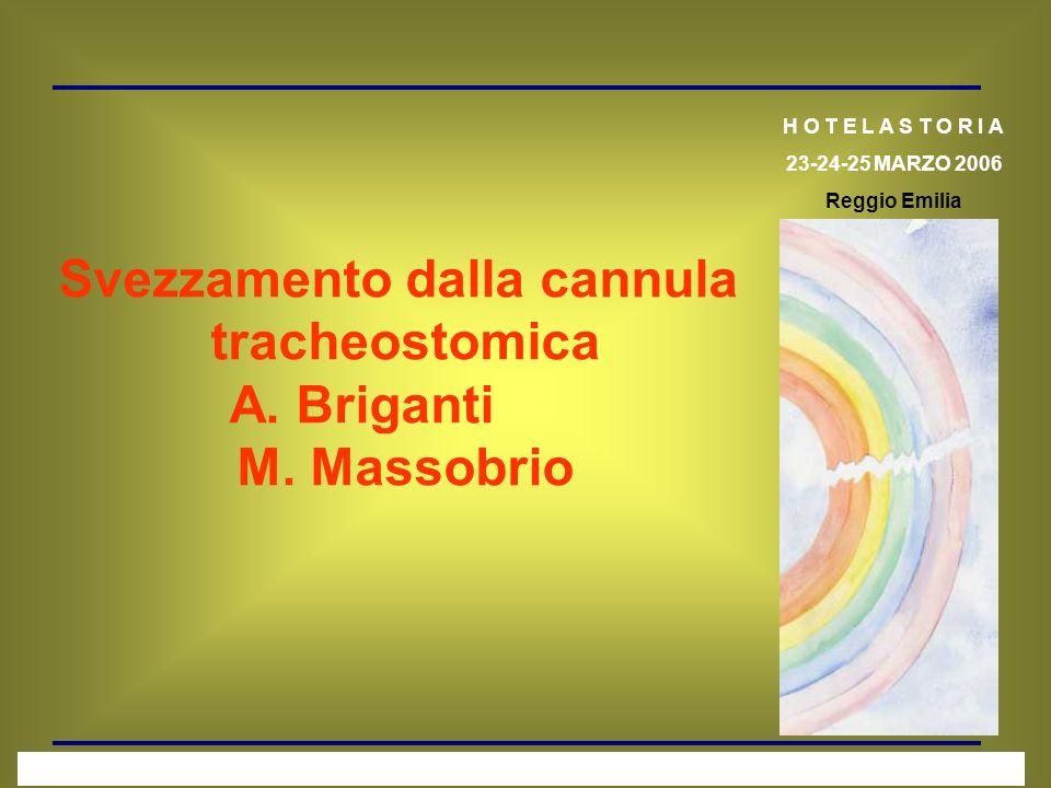 Svezzamento dalla cannula tracheostomica A. Briganti M. Massobrio H O T E L A S T O R I A 23-24-25 MARZO 2006 Reggio Emilia