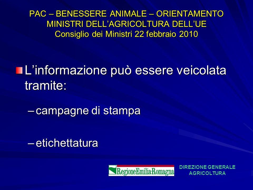 PAC – BENESSERE ANIMALE – ORIENTAMENTO MINISTRI DELLAGRICOLTURA DELLUE Consiglio dei Ministri 22 febbraio 2010 Linformazione può essere veicolata tram