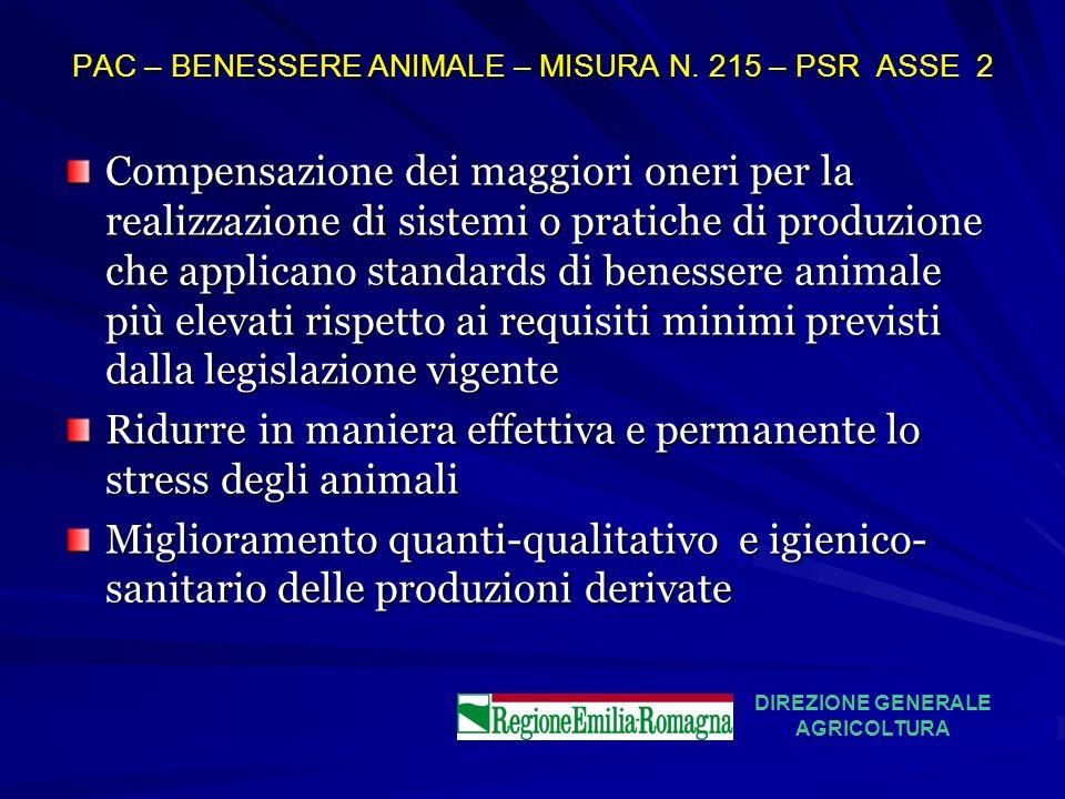 PAC – BENESSERE ANIMALE – MISURA N. 215 – PSR ASSE 2 Compensazione dei maggiori oneri per la realizzazione di sistemi o pratiche di produzione che app