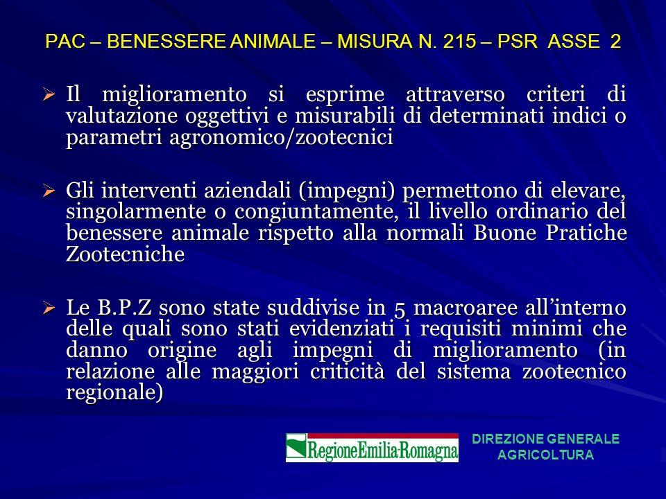 PAC – BENESSERE ANIMALE – MISURA N. 215 – PSR ASSE 2 Il miglioramento si esprime attraverso criteri di valutazione oggettivi e misurabili di determina