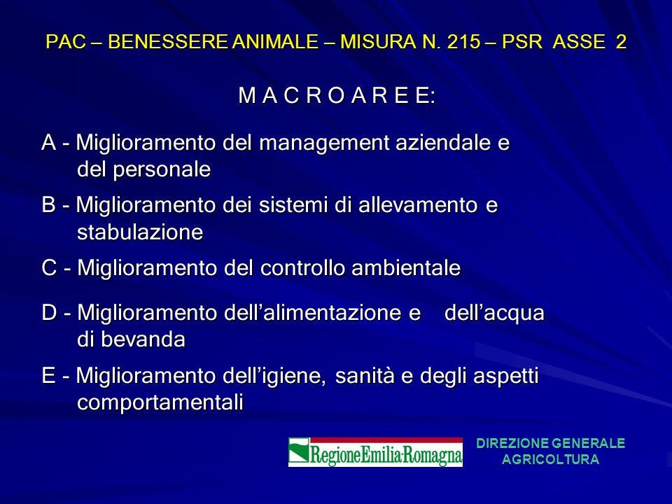 PAC – BENESSERE ANIMALE – MISURA N. 215 – PSR ASSE 2 M A C R O A R E E: A - Miglioramento del management aziendale e del personale del personale B - M