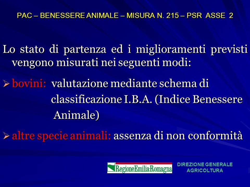 PAC – BENESSERE ANIMALE – MISURA N. 215 – PSR ASSE 2 Lo stato di partenza ed i miglioramenti previsti vengono misurati nei seguenti modi: bovini: valu