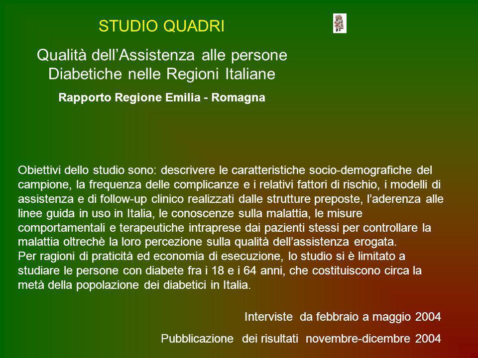 STUDIO QUADRI Qualità dellAssistenza alle persone Diabetiche nelle Regioni Italiane Rapporto Regione Emilia - Romagna Obiettivi dello studio sono: des