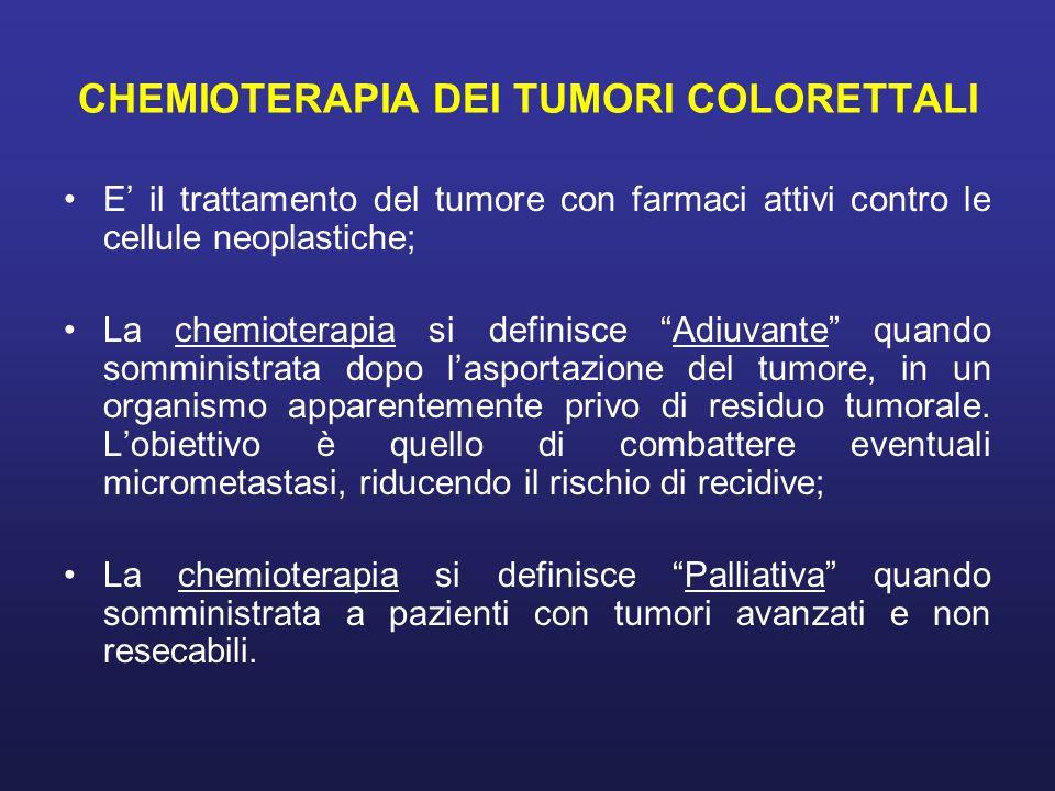 CHEMIOTERAPIA DEI TUMORI COLORETTALI E il trattamento del tumore con farmaci attivi contro le cellule neoplastiche; La chemioterapia si definisce Adiu