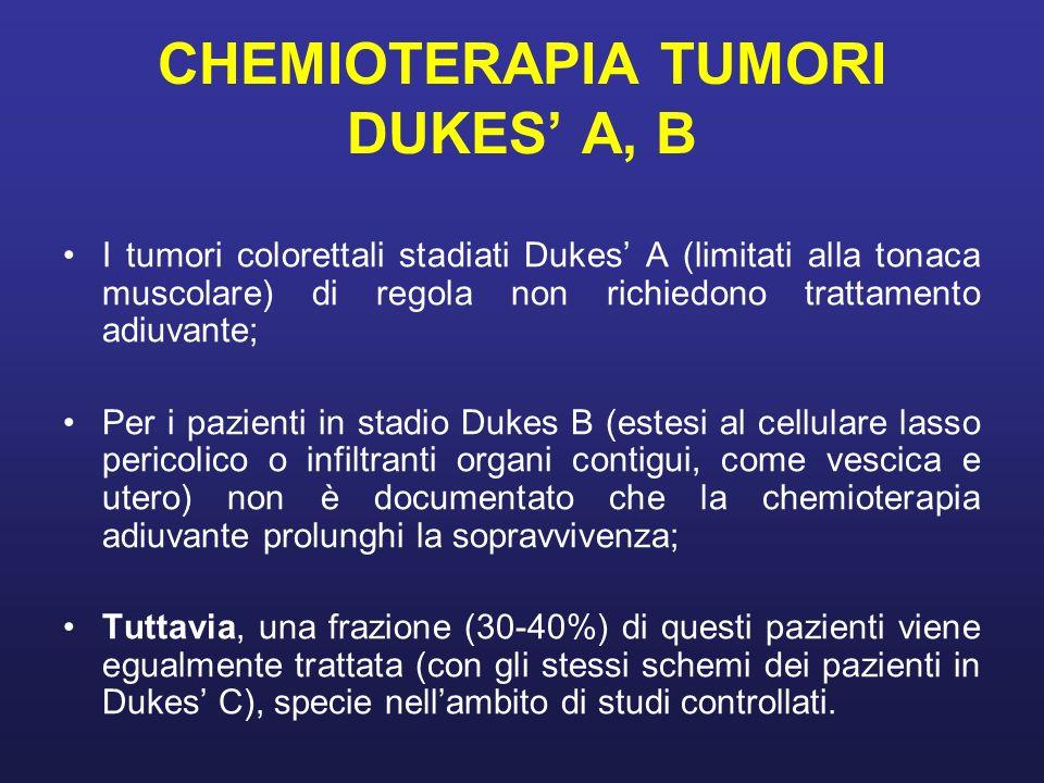 CHEMIOTERAPIA TUMORI DUKES A, B I tumori colorettali stadiati Dukes A (limitati alla tonaca muscolare) di regola non richiedono trattamento adiuvante;
