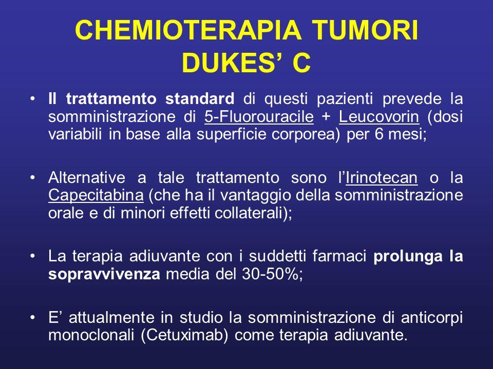 CHEMIOTERAPIA TUMORI DUKES C Il trattamento standard di questi pazienti prevede la somministrazione di 5-Fluorouracile + Leucovorin (dosi variabili in