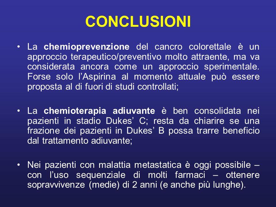 CONCLUSIONI La chemioprevenzione del cancro colorettale è un approccio terapeutico/preventivo molto attraente, ma va considerata ancora come un approc