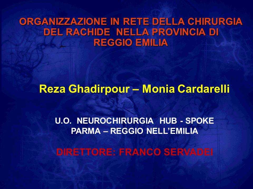 ORGANIZZAZIONE IN RETE DELLA CHIRURGIA DEL RACHIDE NELLA PROVINCIA DI REGGIO EMILIA Reza Ghadirpour – Monia Cardarelli U.O. NEUROCHIRURGIA HUB - SPOKE