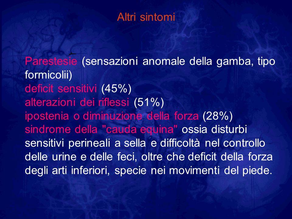 Altri sintomi Parestesie (sensazioni anomale della gamba, tipo formicolii) deficit sensitivi (45%) alterazioni dei riflessi (51%) ipostenia o diminuzi