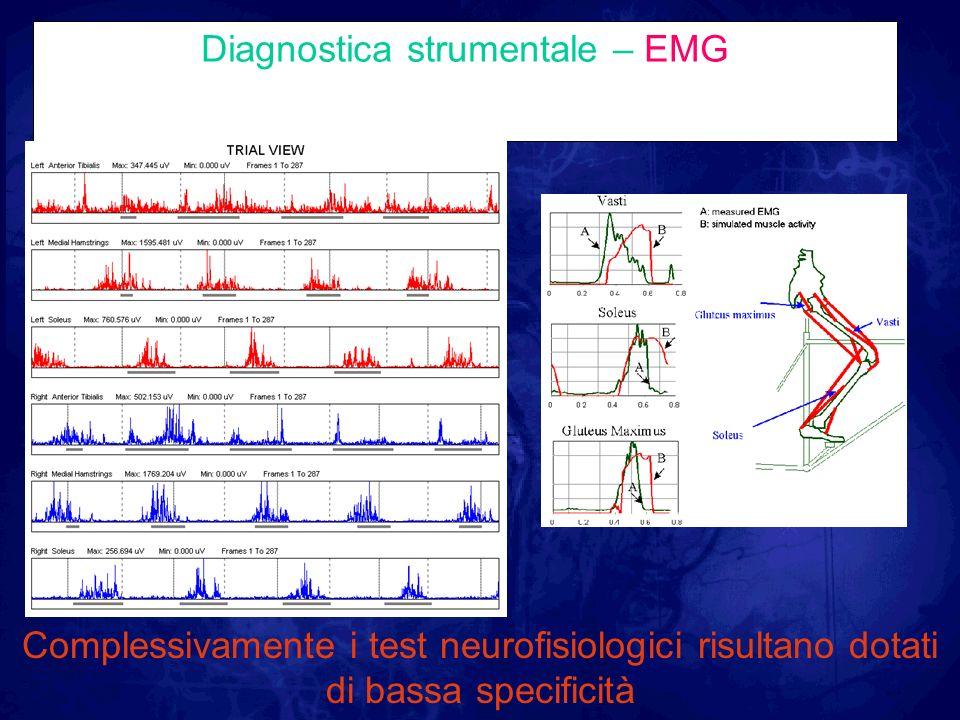 Diagnostica strumentale – EMG Complessivamente i test neurofisiologici risultano dotati di bassa specificità