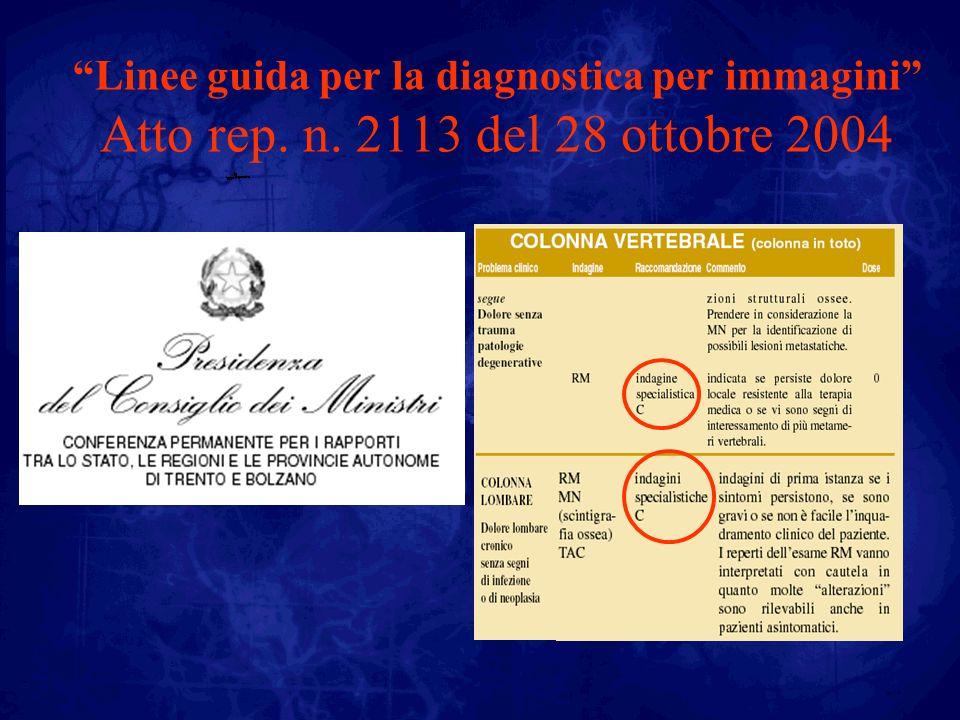 Linee guida per la diagnostica per immagini Atto rep. n. 2113 del 28 ottobre 2004