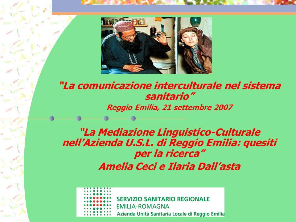 La comunicazione interculturale nel sistema sanitario Reggio Emilia, 21 settembre 2007 La Mediazione Linguistico-Culturale nellAzienda U.S.L.