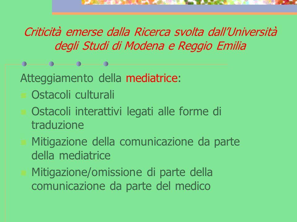 Criticità emerse dalla Ricerca svolta dallUniversità degli Studi di Modena e Reggio Emilia Atteggiamento della mediatrice: Ostacoli culturali Ostacoli