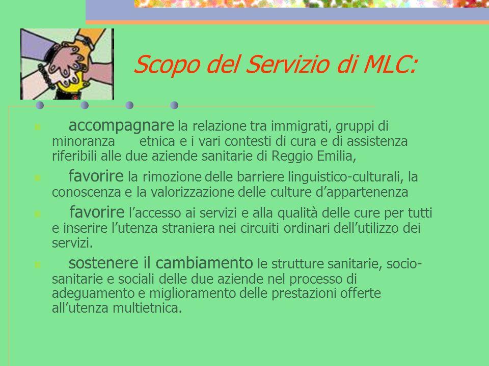 Scopo del Servizio di MLC: accompagnare la relazione tra immigrati, gruppi di minoranza etnica e i vari contesti di cura e di assistenza riferibili al
