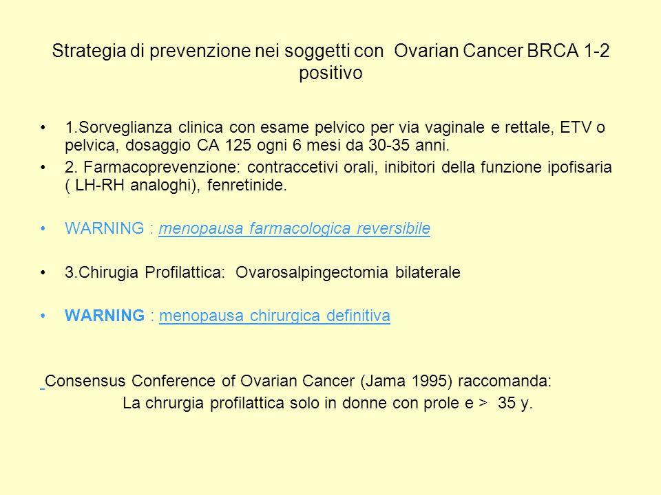 Strategia di prevenzione nei soggetti con Ovarian Cancer BRCA 1-2 positivo 1.Sorveglianza clinica con esame pelvico per via vaginale e rettale, ETV o