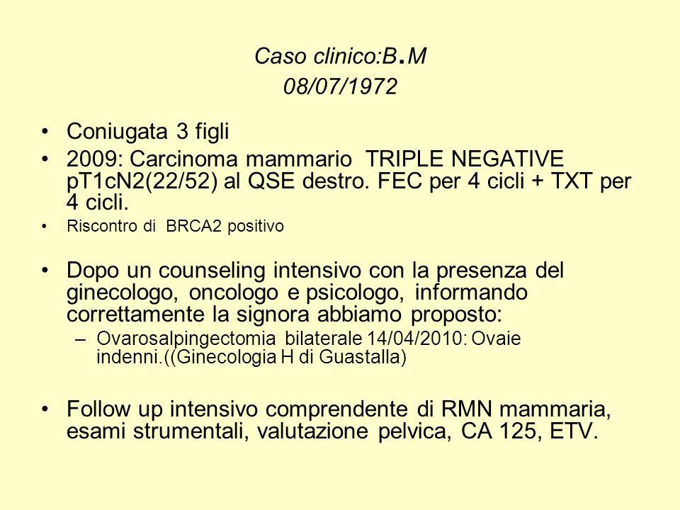 Caso clinico:B. M 08/07/1972 Coniugata 3 figli 2009: Carcinoma mammario TRIPLE NEGATIVE pT1cN2(22/52) al QSE destro. FEC per 4 cicli + TXT per 4 cicli