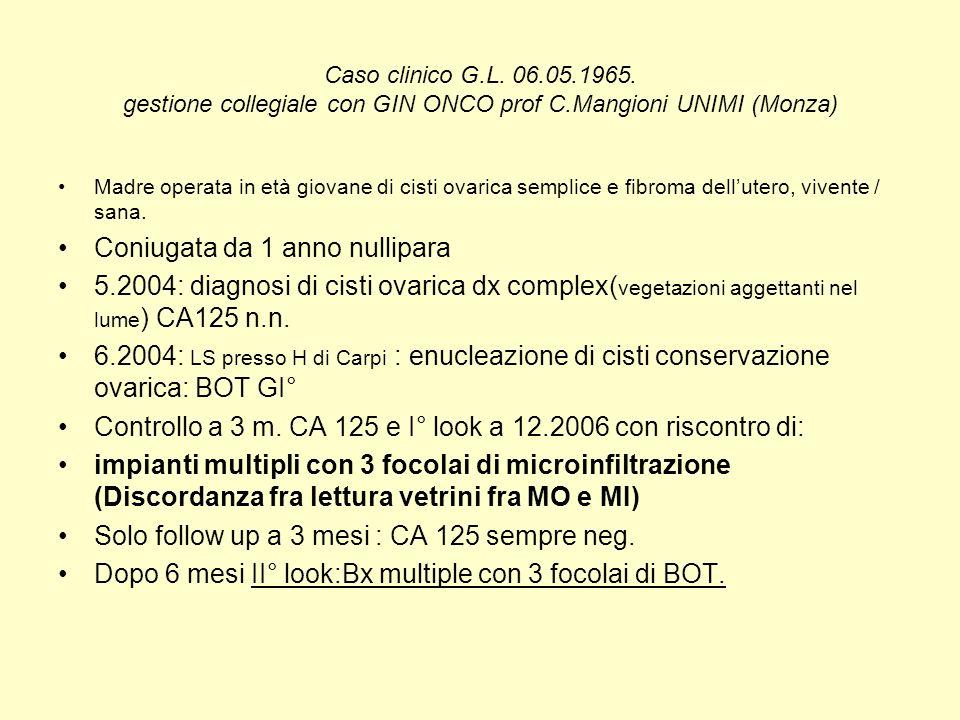 Caso clinico G.L. 06.05.1965. gestione collegiale con GIN ONCO prof C.Mangioni UNIMI (Monza) Madre operata in età giovane di cisti ovarica semplice e