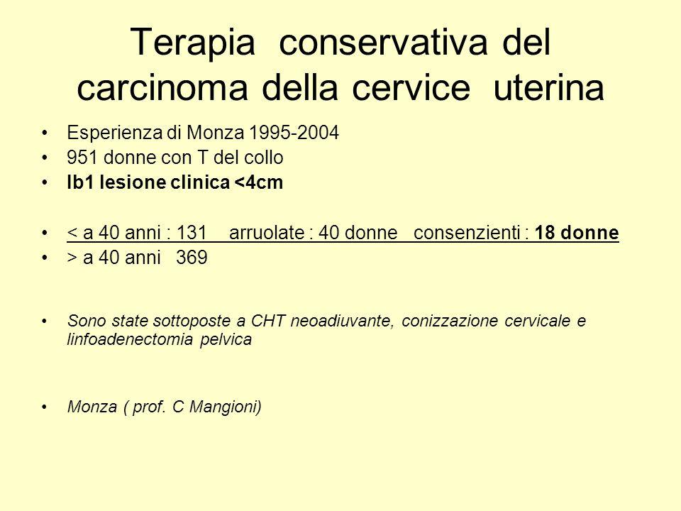 Terapia conservativa del carcinoma della cervice uterina Esperienza di Monza 1995-2004 951 donne con T del collo Ib1 lesione clinica <4cm < a 40 anni