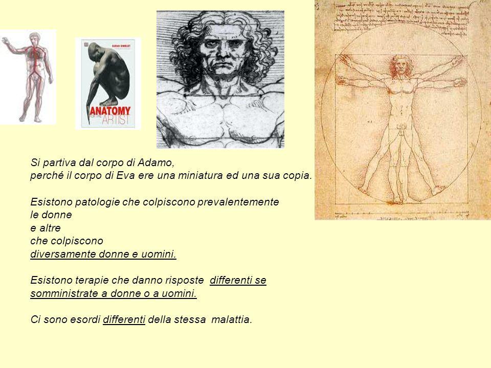 Si partiva dal corpo di Adamo, perché il corpo di Eva ere una miniatura ed una sua copia. Esistono patologie che colpiscono prevalentemente le donne e