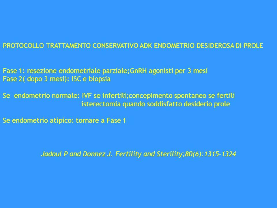 PROTOCOLLO TRATTAMENTO CONSERVATIVO ADK ENDOMETRIO DESIDEROSA DI PROLE Fase 1: resezione endometriale parziale;GnRH agonisti per 3 mesi Fase 2( dopo 3