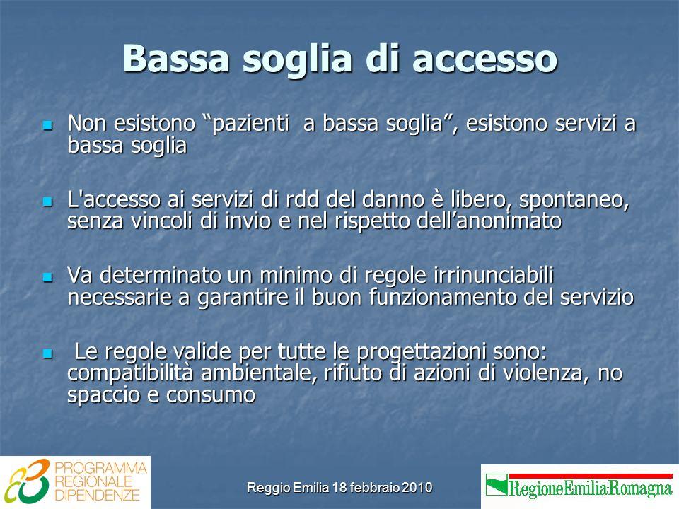 Reggio Emilia 18 febbraio 2010 Bassa soglia di accesso Non esistono pazienti a bassa soglia, esistono servizi a bassa soglia Non esistono pazienti a b