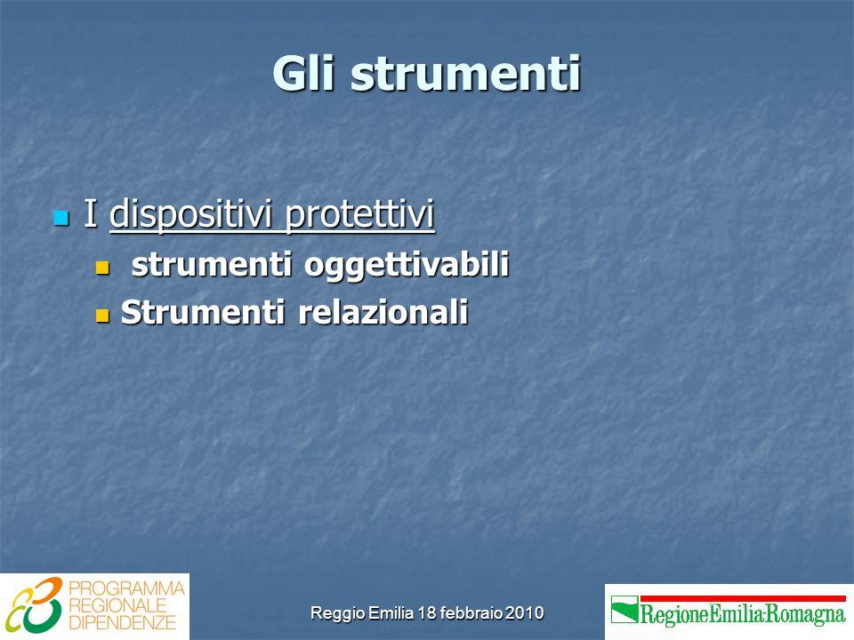 Reggio Emilia 18 febbraio 2010 Gli strumenti I dispositivi protettivi I dispositivi protettivi strumenti oggettivabili strumenti oggettivabili Strumenti relazionali Strumenti relazionali