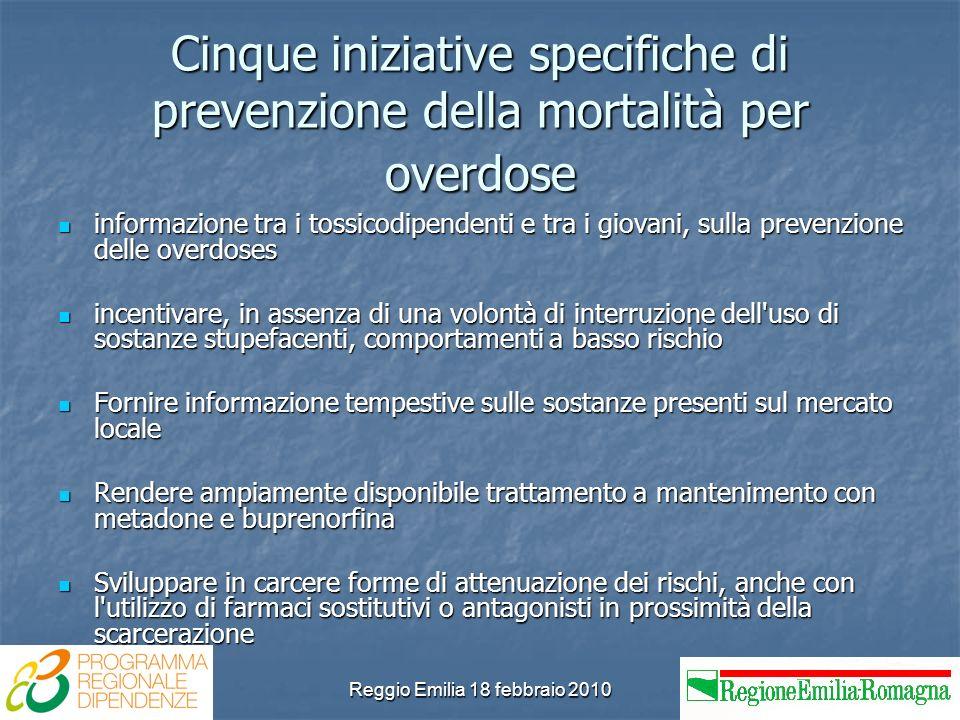 Reggio Emilia 18 febbraio 2010 Cinque iniziative specifiche di prevenzione della mortalità per overdose informazione tra i tossicodipendenti e tra i g