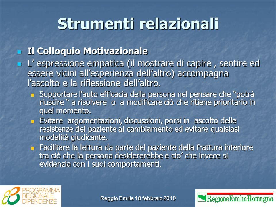 Reggio Emilia 18 febbraio 2010 Strumenti relazionali Il Colloquio Motivazionale Il Colloquio Motivazionale L espressione empatica (il mostrare di capi