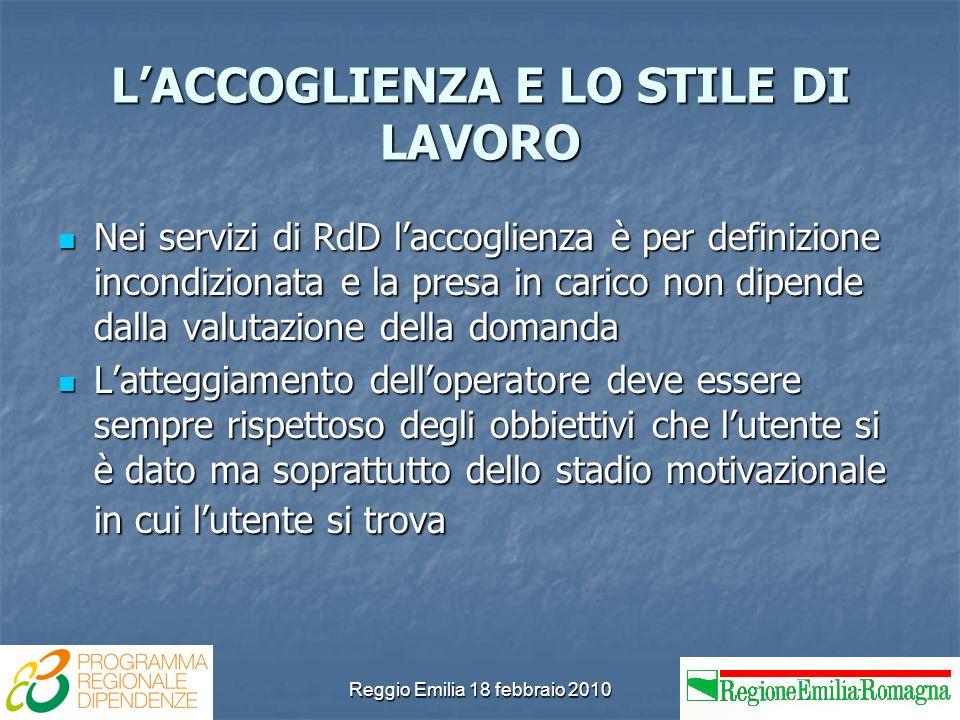 Reggio Emilia 18 febbraio 2010 LACCOGLIENZA E LO STILE DI LAVORO Nei servizi di RdD laccoglienza è per definizione incondizionata e la presa in carico