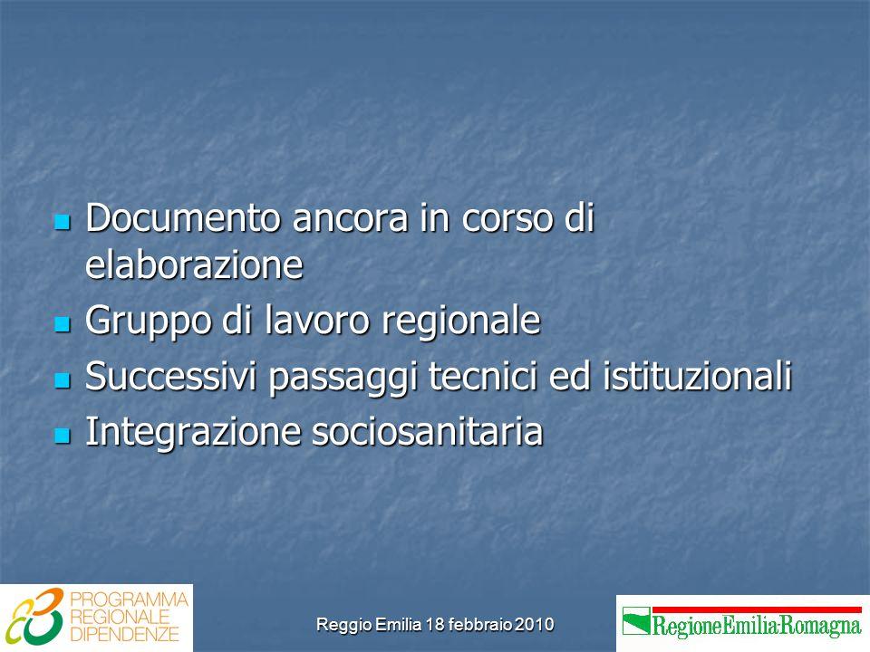 Reggio Emilia 18 febbraio 2010 Documento ancora in corso di elaborazione Documento ancora in corso di elaborazione Gruppo di lavoro regionale Gruppo di lavoro regionale Successivi passaggi tecnici ed istituzionali Successivi passaggi tecnici ed istituzionali Integrazione sociosanitaria Integrazione sociosanitaria