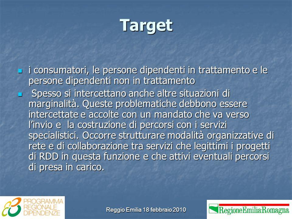 Reggio Emilia 18 febbraio 2010 Target i consumatori, le persone dipendenti in trattamento e le persone dipendenti non in trattamento i consumatori, le