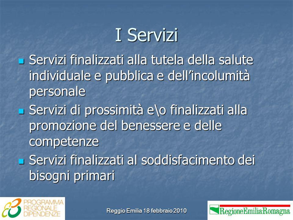 Reggio Emilia 18 febbraio 2010 I Servizi Servizi finalizzati alla tutela della salute individuale e pubblica e dellincolumità personale Servizi finali
