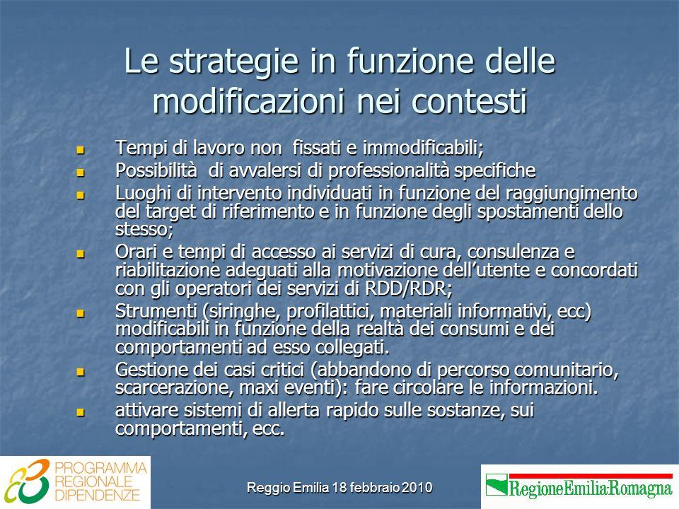 Reggio Emilia 18 febbraio 2010 Le strategie in funzione delle modificazioni nei contesti Tempi di lavoro non fissati e immodificabili; Tempi di lavoro