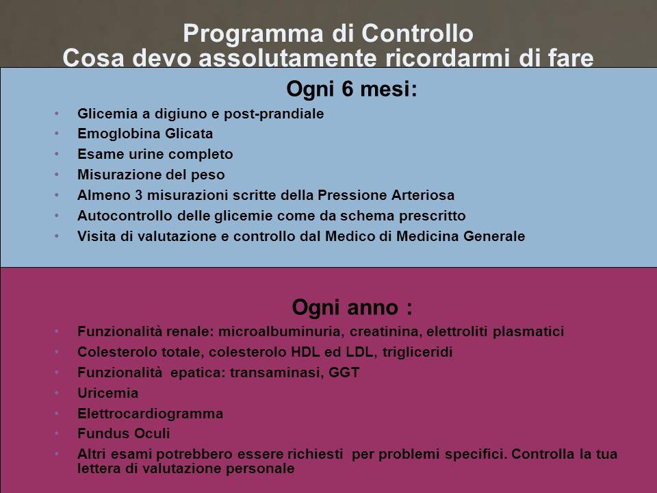 Programma di Controllo Cosa devo assolutamente ricordarmi di fare Ogni 6 mesi: Glicemia a digiuno e post-prandiale Emoglobina Glicata Esame urine comp